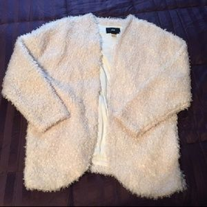 Knit fuzzy faux fur cardigan sweater